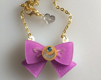 SAILOR MOON bow lilac glitter laser cut necklace