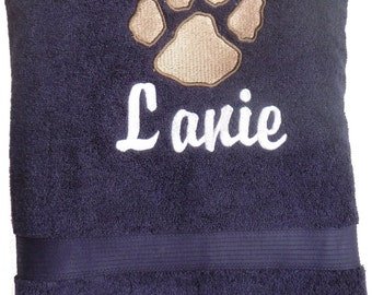 Navy Dog Bath Sized Towel Embroidered with  Paw and Personalized