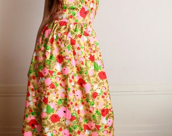 Vintage 1960s Floral Maxi Dress - Bright Bold Flower Garden Cotton Halter Dress - Medium