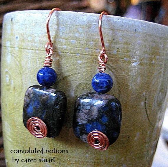 blue sodalite and rhyolite copper earrings handmade one of a kind swirl jewelry