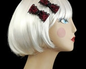 Gothic PinUp Garnet Dark Red and Black Lace Hair Bow Barette Clips FREE SHIPPING