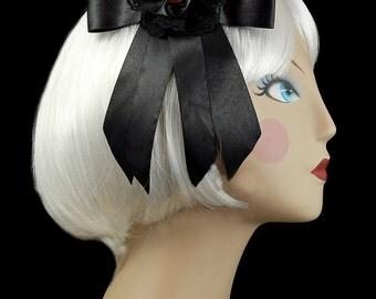 Gothic Lolita Hair Clip, Large Black Satin Hair Bow, Lolita Hair Accessory