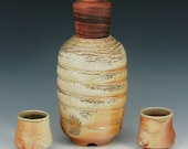 FREE SHIPPING Pottery Porcelain wood fired sake, wine cordial set walnut cover WS23