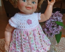 Crochet outfit Ideal Giggles 1968 Baby Doll 17 inch Dress Set Pink White Green Purple Flower