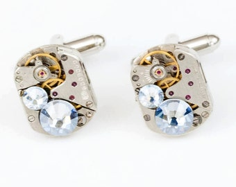 Steampunk Silver Cufflinks with Perfectly Matched Vintage Watch Movements and Sparkling Pale Sky Blue Swarovski Crystals by Velvet Mechanism