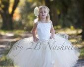 Vintage Ivory Lace Tulle Flower Girl Dress  Wedding Flower Girl  Dress  Ivory Lace Tutu Dress All Sizes Girls