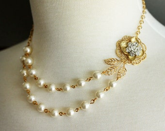 Gold Wedding Necklace Bridal Pearl Necklace Vintage Wedding Jewelry Swarovski Double Stranded