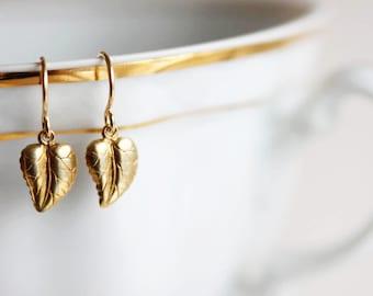 Gold Leaf Earrings Tiny Earrings 14 Karat Gold Filled Everyday Earrings
