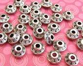 25 Bali Style 6.5mm Bicone Disk Beads Silver Plated RoundDisc Beads TS825B