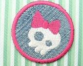Mini Girly Skull Patch - Pink and White Embroidery on Denim - Great accent for jeans and denim items