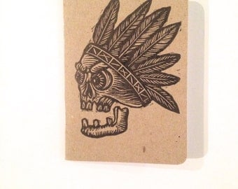 Travel Notebook Journal, Pocket Skull Notebook, Pocket Travel Journal, Hand Printed Linocut