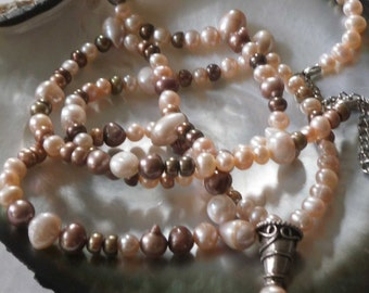 Long Natural Freshwater Pearl Necklace Mixed Color Pearls with a Sterling Silver Pearl Pendant