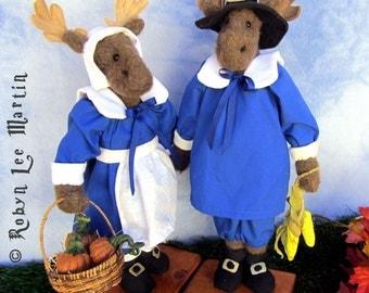 Moose Pilgrim Primitive Soft Sculpture Dolls