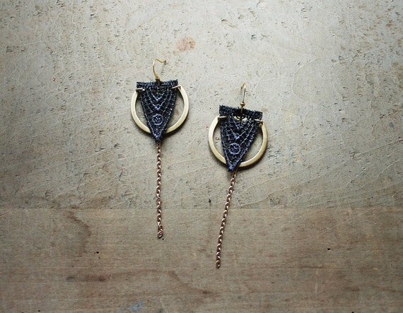 geometric lace earrings // ORLA // gray and brass earrings / art deco earrings / modern earrings / long earrings / gift for women