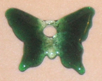 2 Tone Green Butterfly Molded Glass Pendant