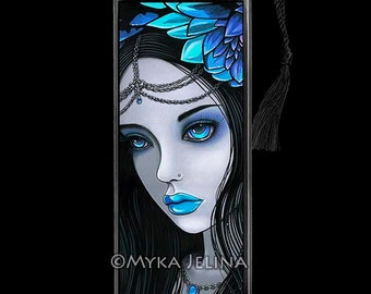 Gothic Fairy Blue Moon Lotus Flower Nalin BOOKMARK