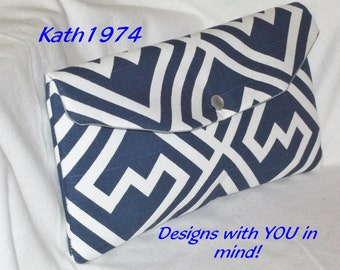 Navy Clutch - Bridesmaid Clutch -  SALE - Envelope Clutch -Purse - Premier Prints - Shakes in Navy & White - Bridesmaid Gift - Birthday Gift