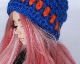 MSD clothes BJD Crochet Blue and Orange stripe slouchy beanie MonstroDesigns ready to ship