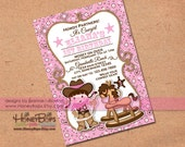 Cowgirl Invitation Baby Shower, Birthday, Announcement - PINK BANDANA - Custom Digital Invite - uPrint Digital File