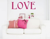 LOVE Wall Decal Sticker Valentines Day Decoration - Vinyl Wall Decal for Nursery or Kid Room  Color Options Removable Wall Decal Made in USA