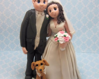 Custom Bride and Groom With Dog Wedding Cake Topper,Wedding Cake Topper, Custom Cake Topper, Bride and Groom, Personalized, Keepsake
