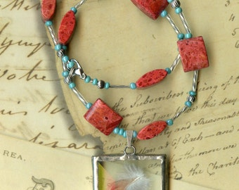 Red Feather Necklace with Coral and Turquoise Beads