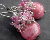 RESERVED--Lampwork bead and gemstone earrings - sterling silver - pink sapphire - labradorite - pink and gray - beaded dangle earrings