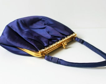 Vintage 50s Royal Purple Evening Bag Purse / Antique 1950s Satin Purple Handbag