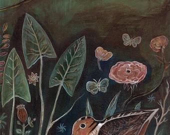 Art print, gallery art, nature, flowers, birds, greeting card, nature lover, bird lover