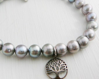 Grey Freshwater Pearl Bracelet sterling tree of life charm stacking friendship fashion jewelry Wedding Bridal