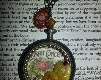 "Pocket Watch Case Necklace ""Flower Shop"""