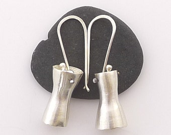 Small Sterling Silver Abstract Hourglass Earrings - E2222