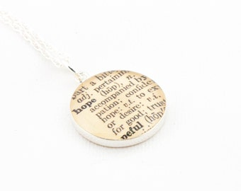 Sterling Silver Definition of HOPE Pendant and Necklace - Vintage Dictionary