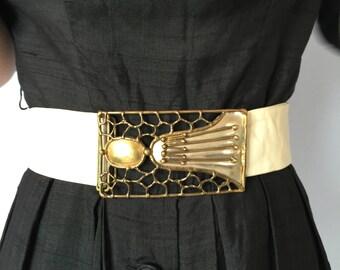 Vintage Brutalist Belt Buckle - 1960s Modernist Large Silver and Gold tone Metal