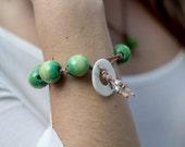 Green Chunky Bohemian Bracelet Handmade Jewelry Rustic Earthy Artisan Design Handcrafted San Diego California USA Kila Rohner Boho Beach