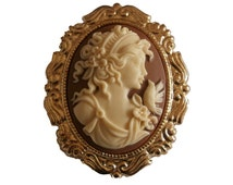 SALE Lovely Cameo Brooch Antiqued Gold Color Grecian Woman with Dove Victorian Brown Cream Greek Piped Curls Hairdo Flowers Lady Jewelry