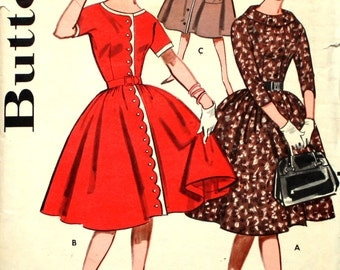 Dress with Scalloped Front Bust 34  Butterick 9428