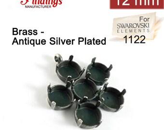 Flower Pendant Base Setting Antique Silver Plated Fit Swarovski Rivoli 12mm 1122 Elements (66032701ASP)