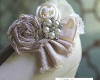 Wedding or Dress- Dusty Blush, rolled rosette shoe clips