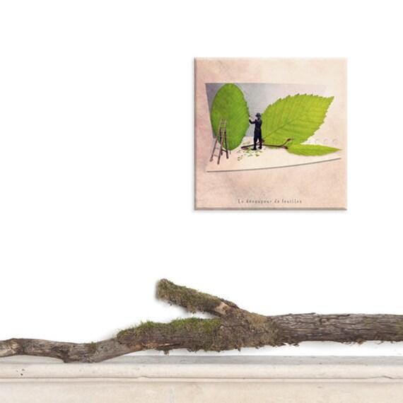 custom print, canvas, canvas wrap, canvas art, Fun print, Fun art, Spring decor, Nature lover, Nature decor, green decor, Leaf cutter