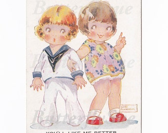 Cute Kids Postcard Sailor Boy and Cheeky Girl Flirting,Agnes Richardson, Collectible Unposted