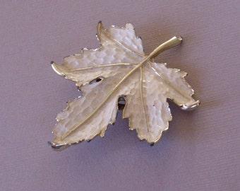 Textured Vintage White Enamel Leaf Brooch