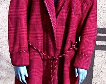 Vintage BEACON BLANKET ROBE Glen Check Large Red