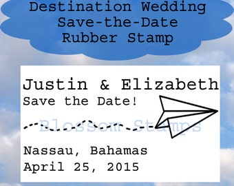 Destination Wedding Paper Airplane Save the Date Rubber Stamp -  Handmade by Blossom Stamps
