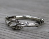 Twig & Leaf Band with Single Diamond: White, Yellow, or Rose Gold; Canadian Diamond