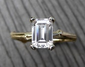 Emerald Cut Moissanite Twig Engagement Ring: Yellow, White, or Rose Gold; 1ct; Forever Brilliant™