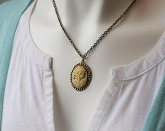 Cameo Necklace, Pale Green and Cream, Victorian, Romantic, Brass Chain, Charm