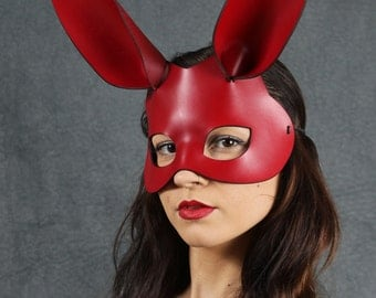 Bunny leather mask in red
