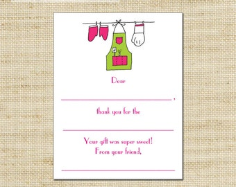 Baking Apron Kids Thank You Card - 10 Eco Friendly Note Cards With Baking Clothes Line