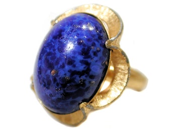 SALE! 70s Lapis Ring size 4 5 6, Adjustable Lapis SHP Ring, Gold Tone Blue Stone Vintage Ring